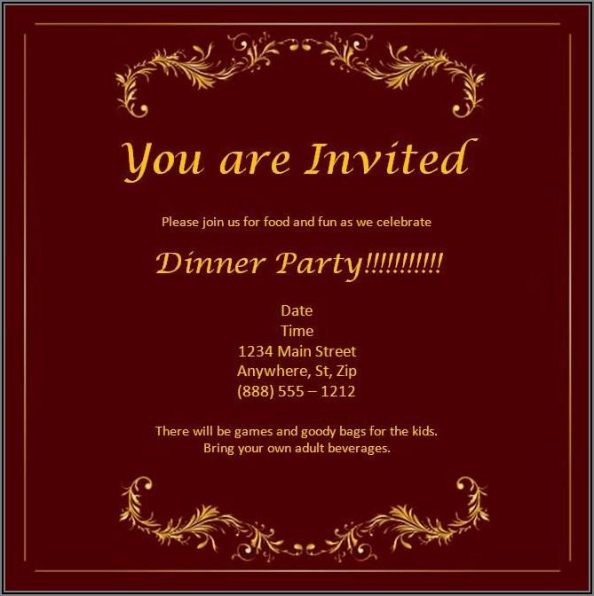 Dinner Invitation Template Word Free