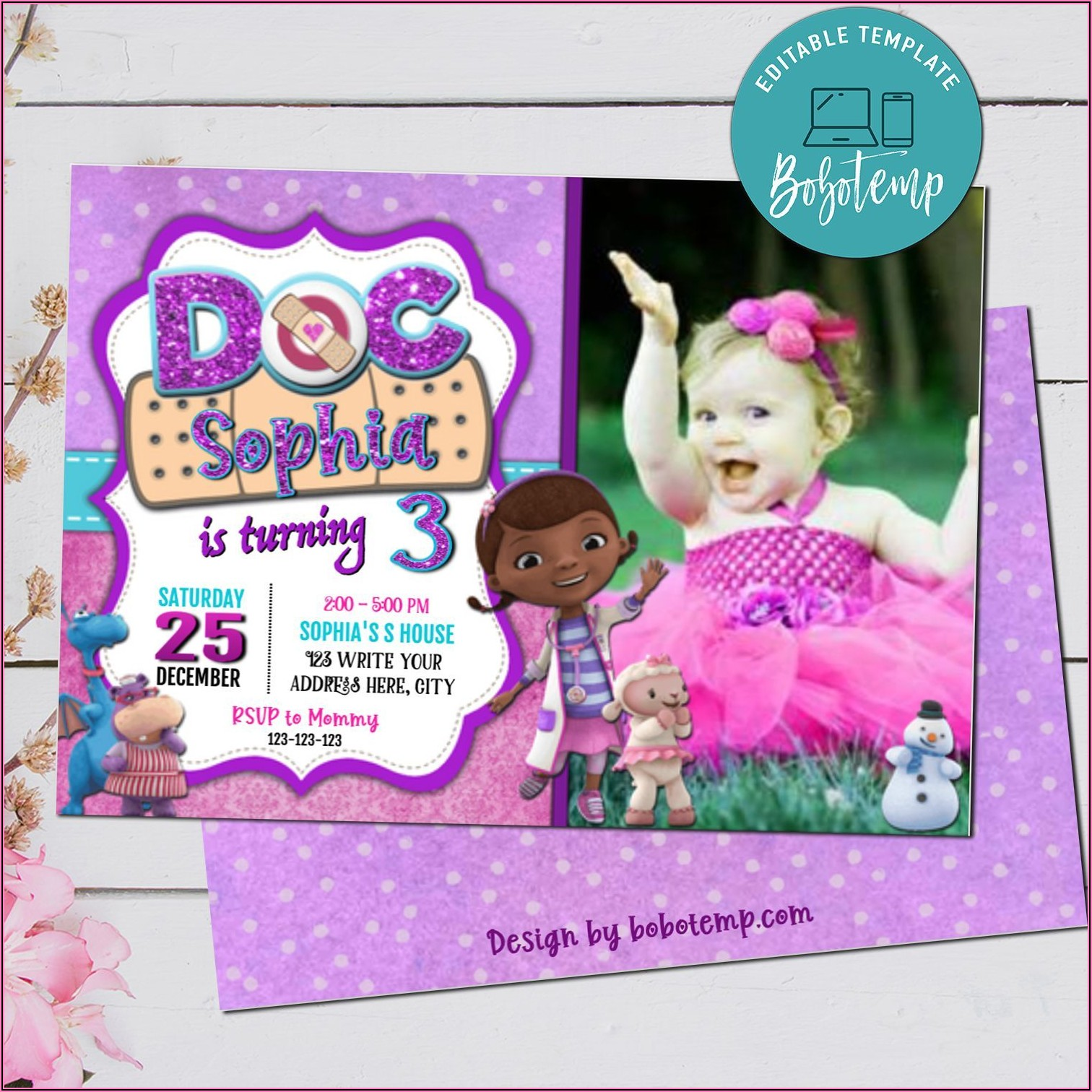 Doc Mcstuffins Birthday Invitation With Photo