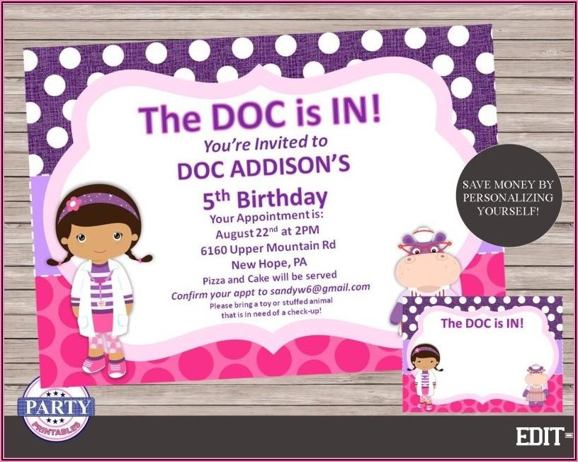 Doc Mcstuffins Invitations Personalized