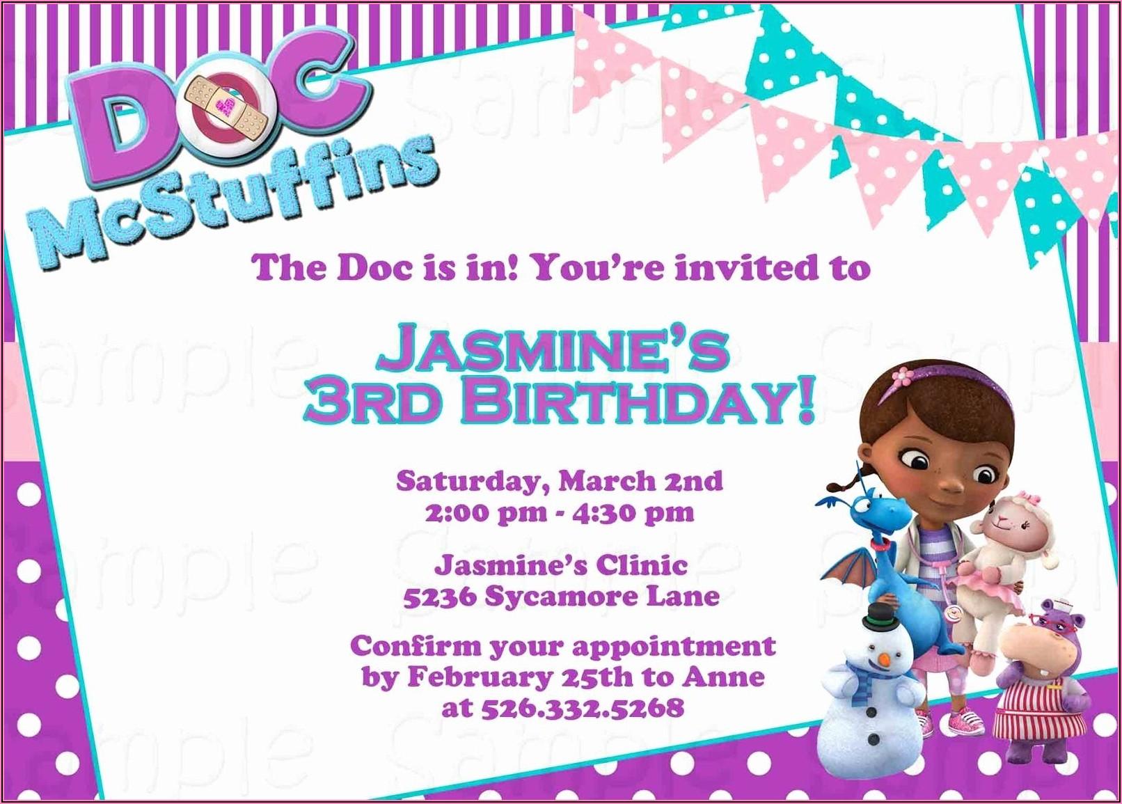 Doc Mcstuffins Invitations Template