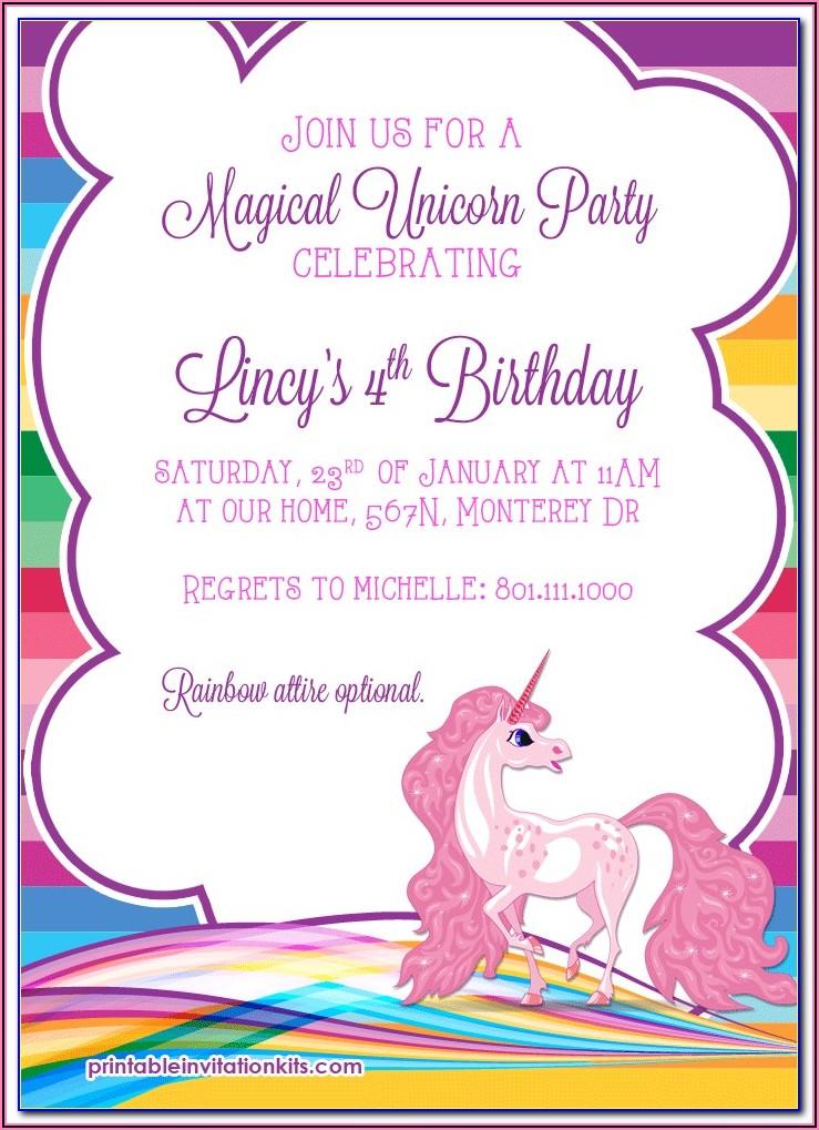 Downloadable Free Unicorn Invitation Template