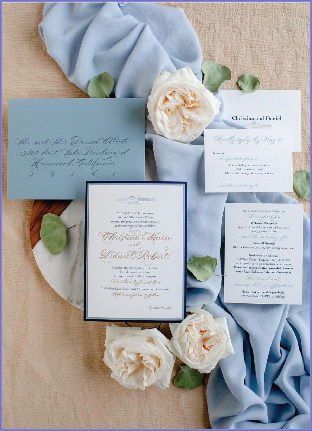 Dusty Blue Wedding Invitation Design