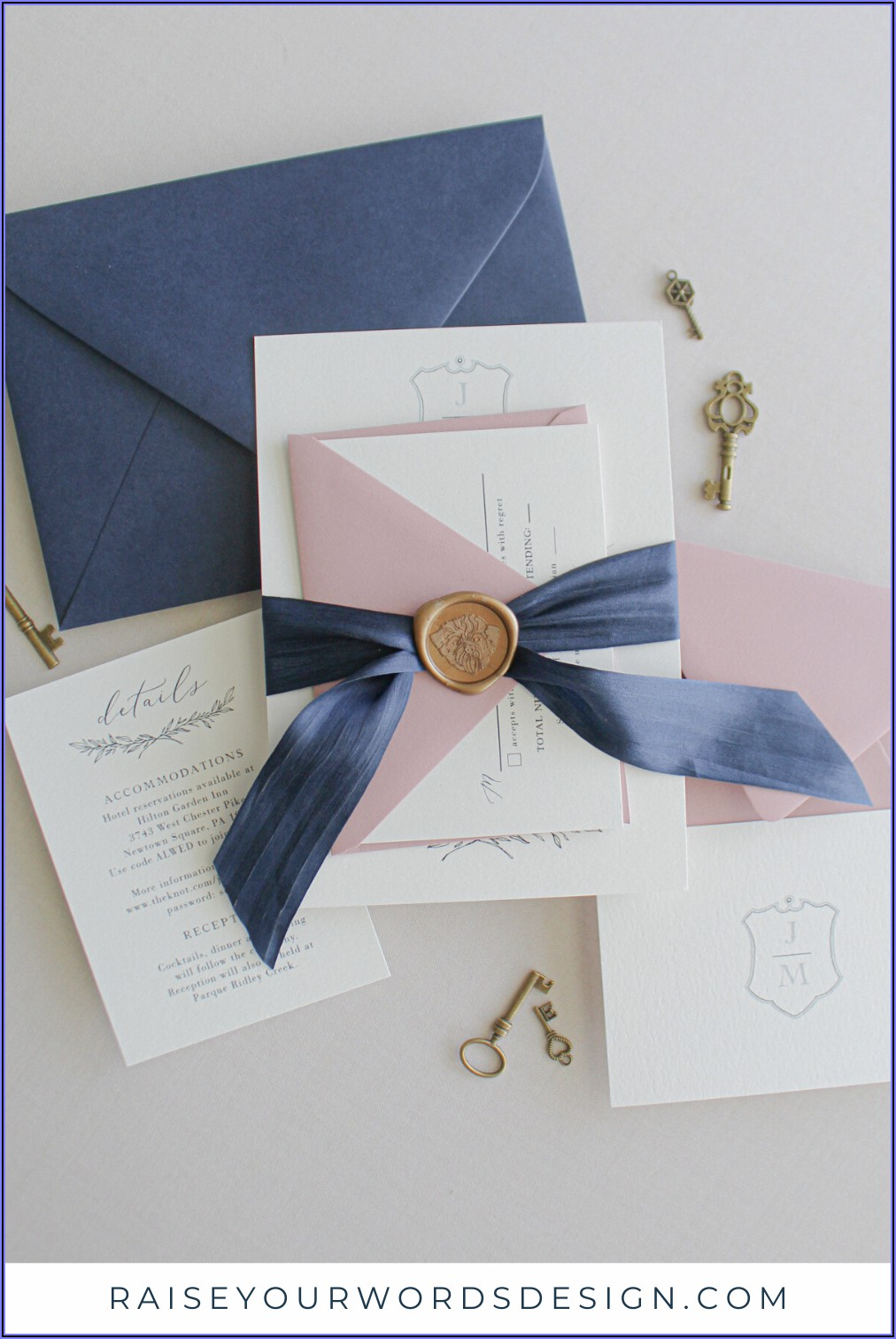 Dusty Pink And Gold Wedding Invitations