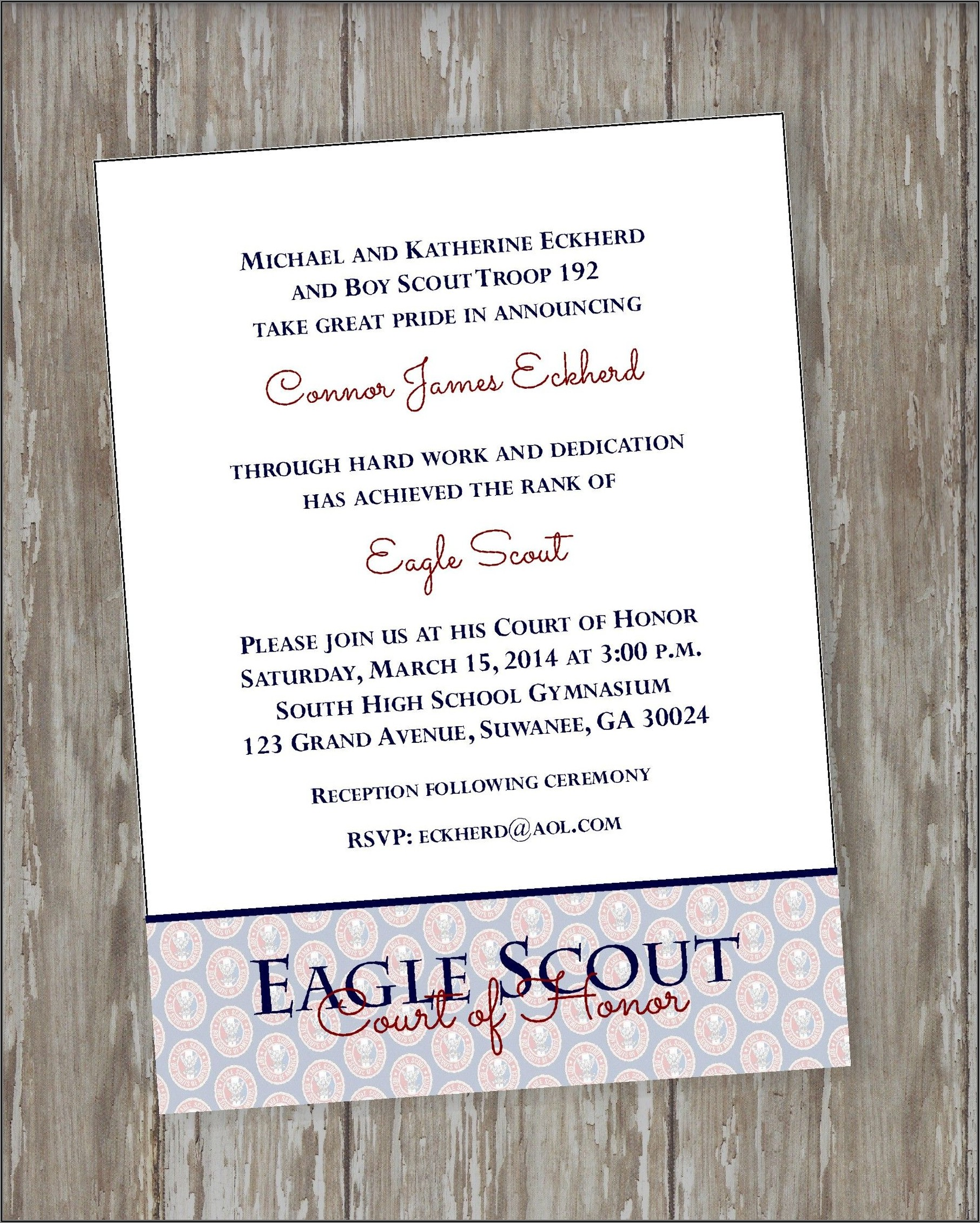 Eagle Scout Court Of Honor Invitations