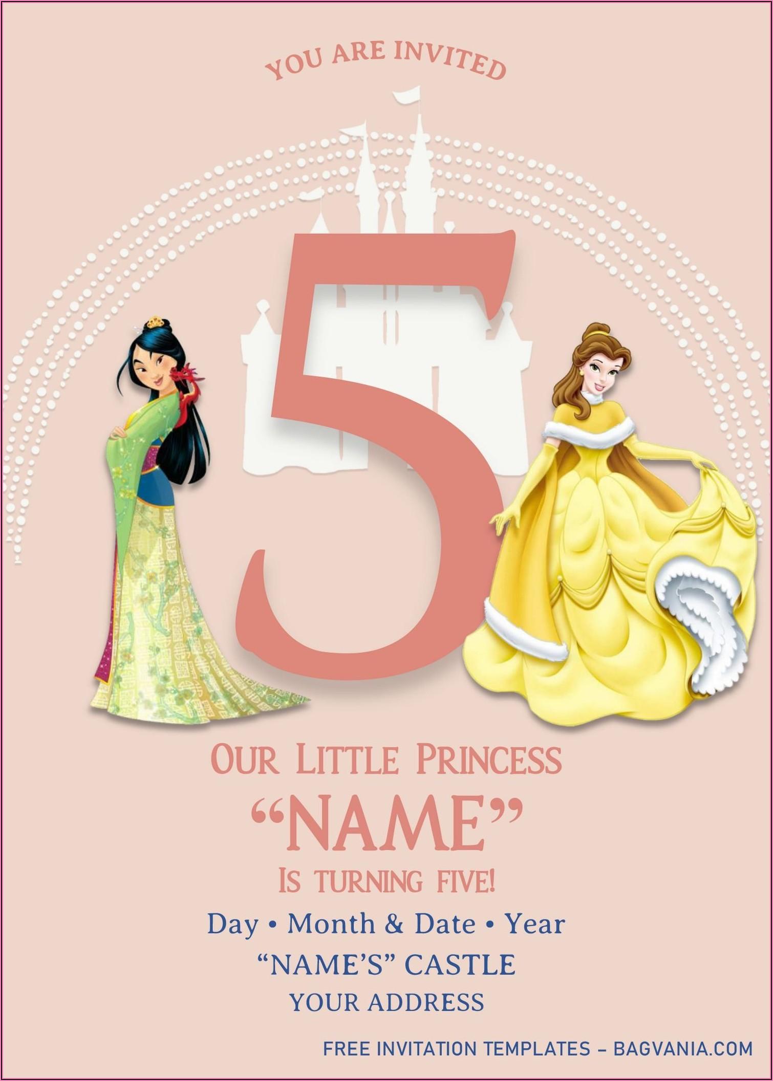 Editable Disney Princess Birthday Invitations