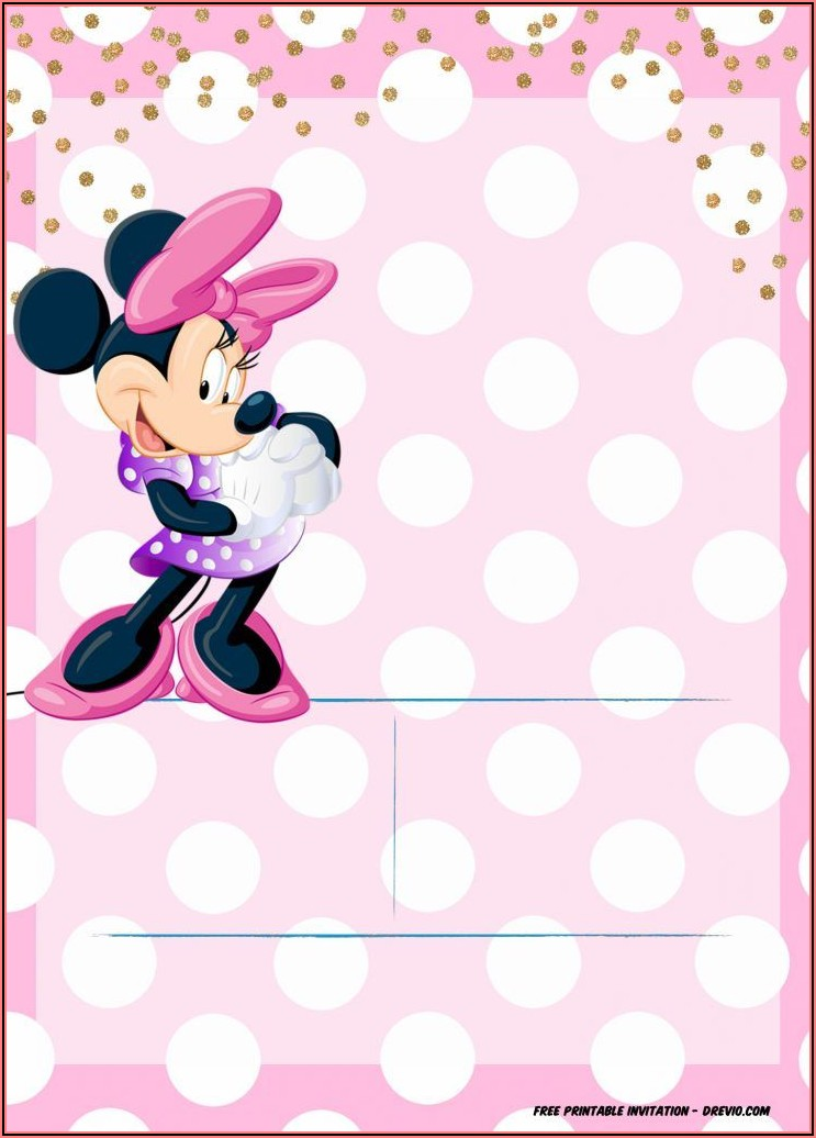 Editable Minnie Mouse Invitation Template Free