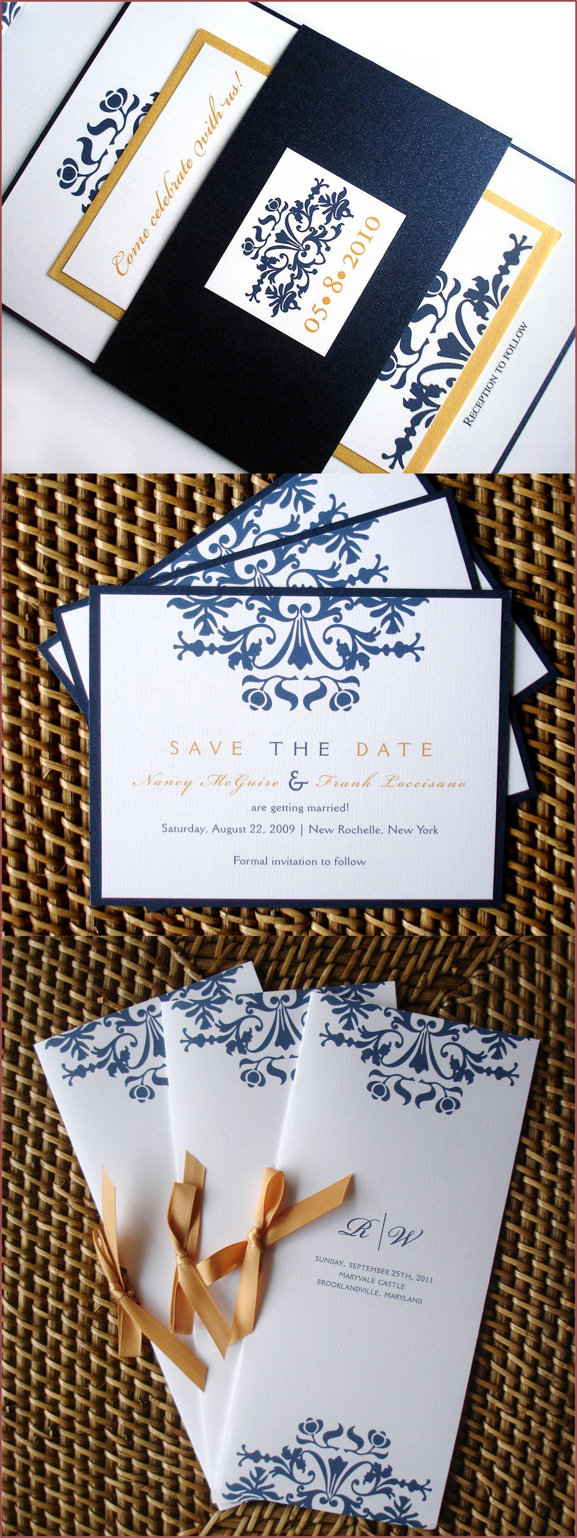 Elegant Navy Blue And Gold Wedding Invitations