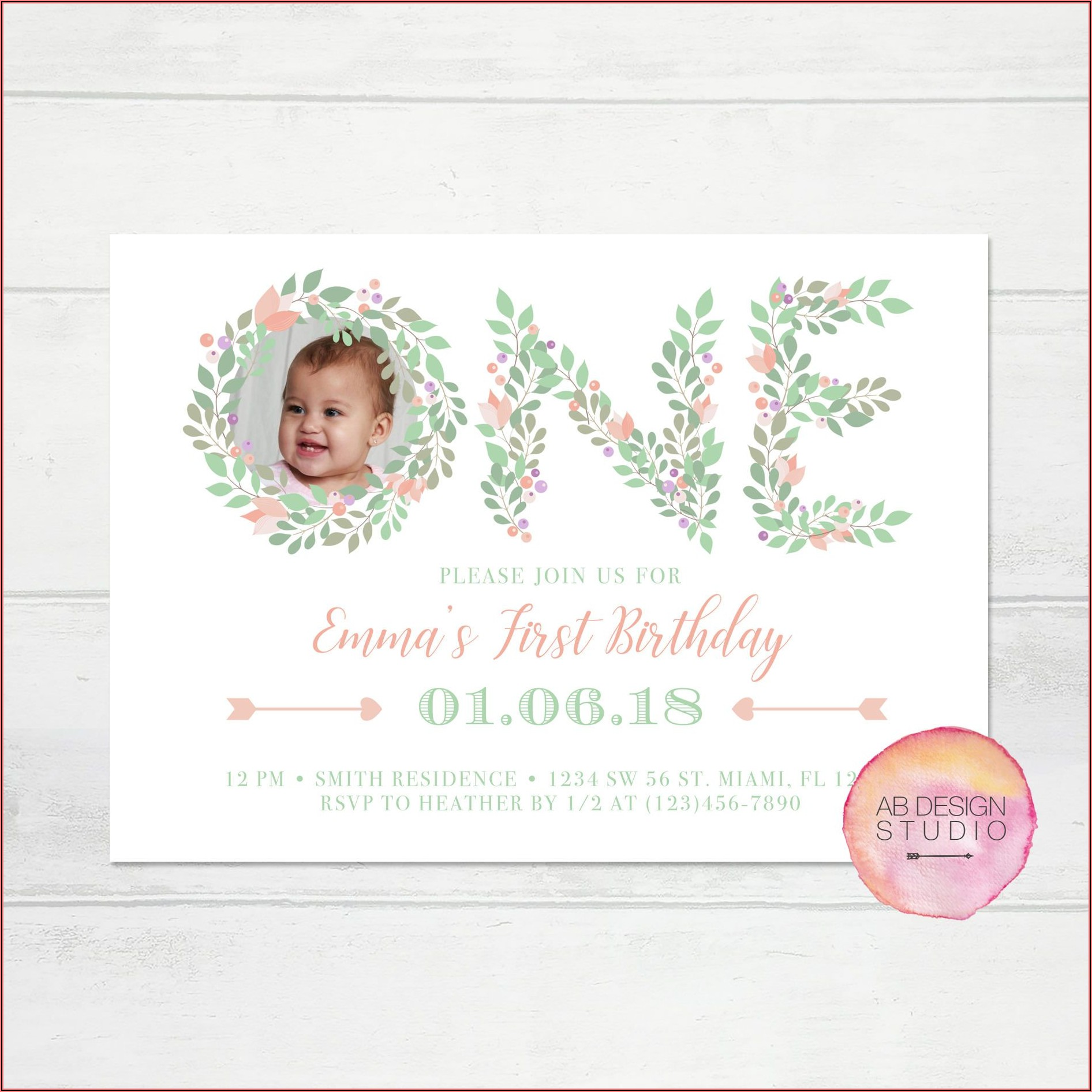 Etsy Baby Girl First Birthday Invitations