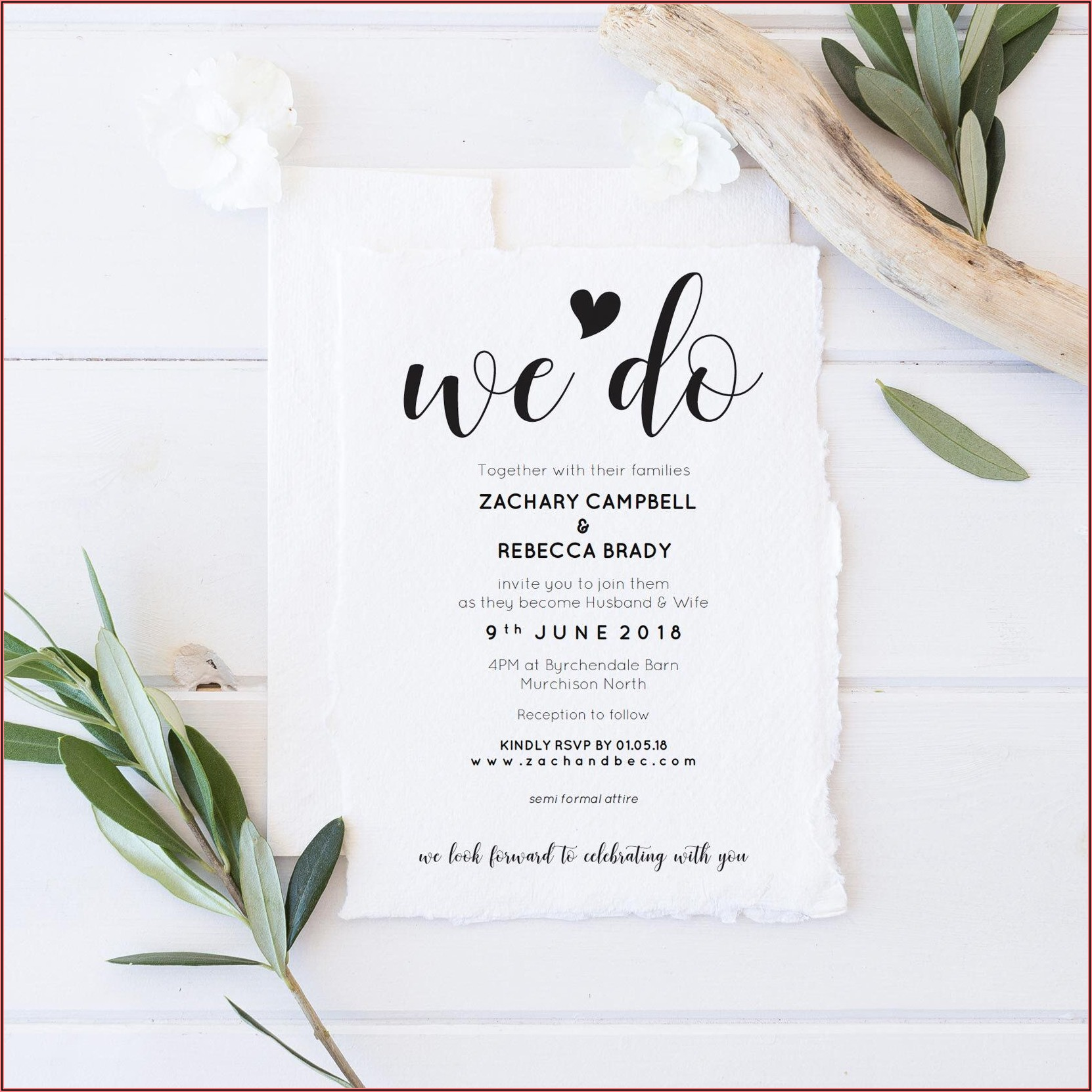 Etsy Rustic Wedding Invitation Template
