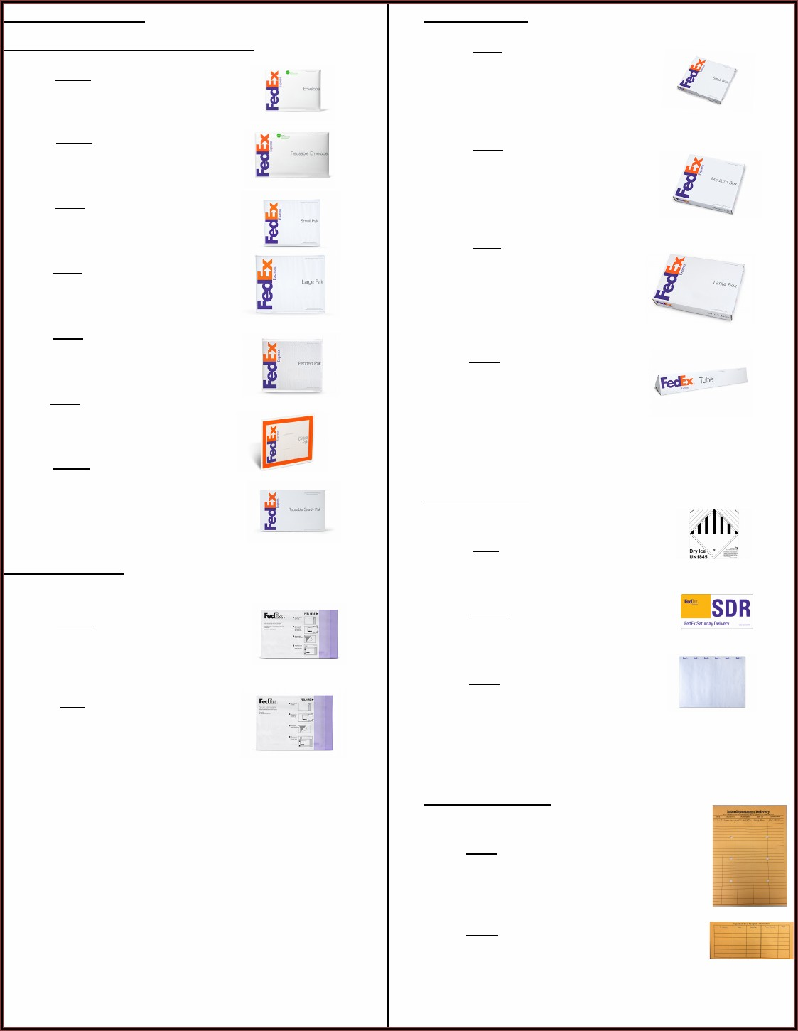 Fedex Envelope Sizes Us