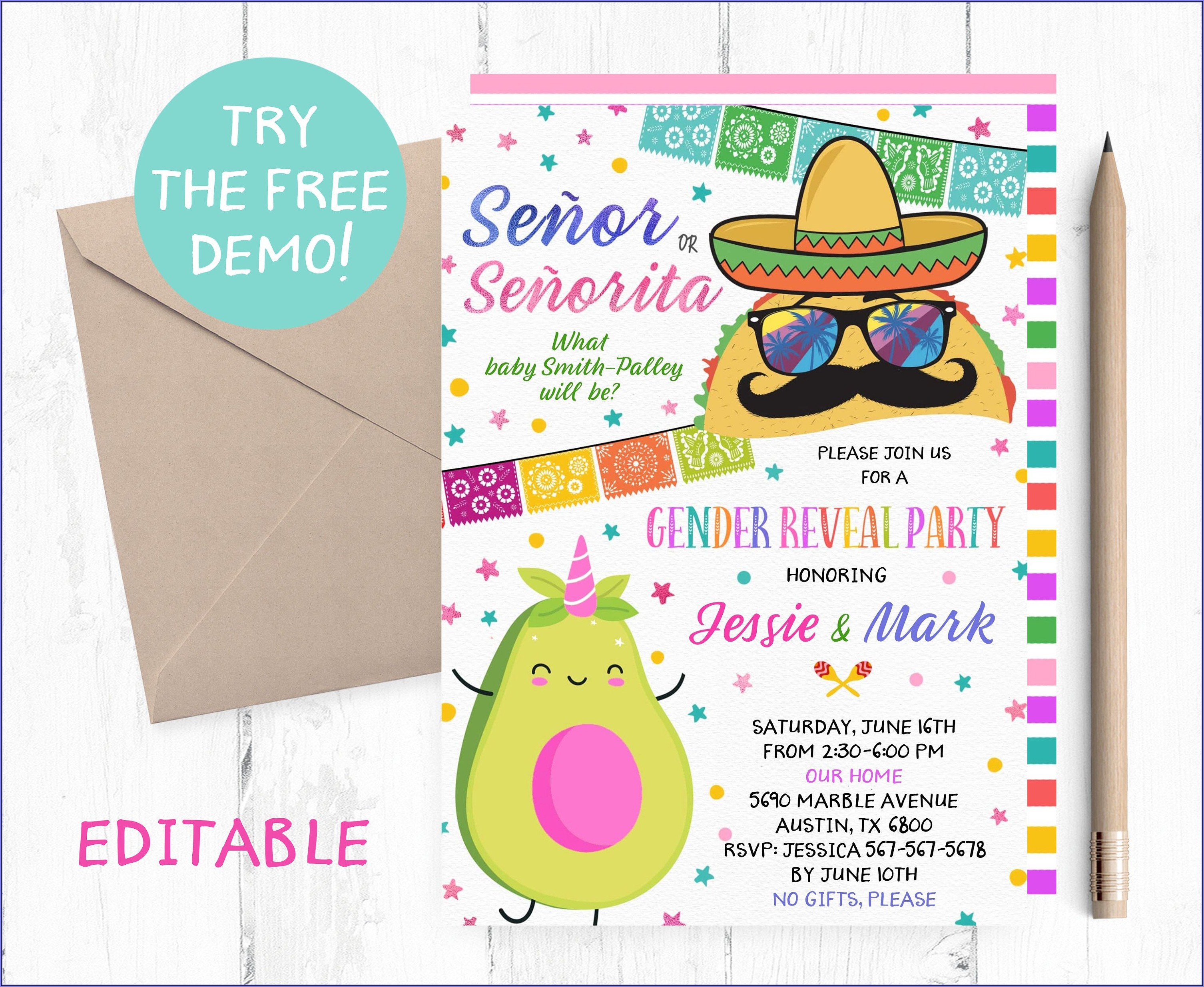 Fiesta Gender Reveal Invitation Template