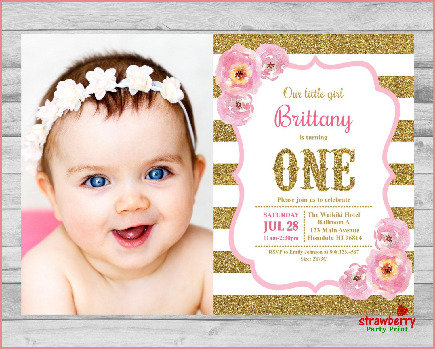 First Birthday Invitation Girl Pink And Gold