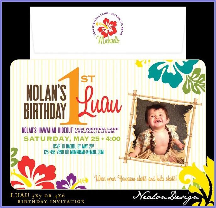 First Birthday Luau Invitations