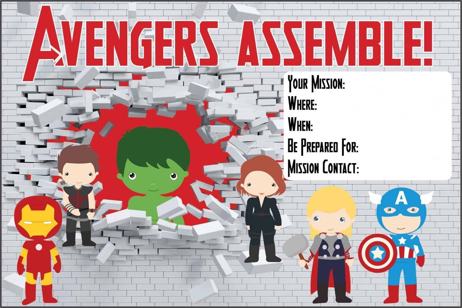 Free Avengers Birthday Party Invitations