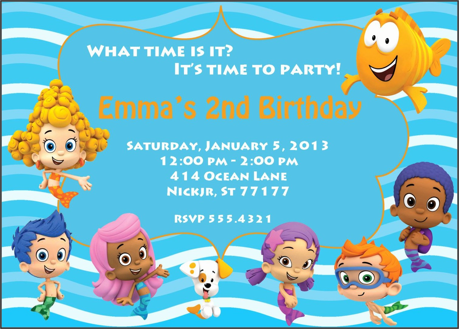 Free Bubble Guppies Birthday Invitation