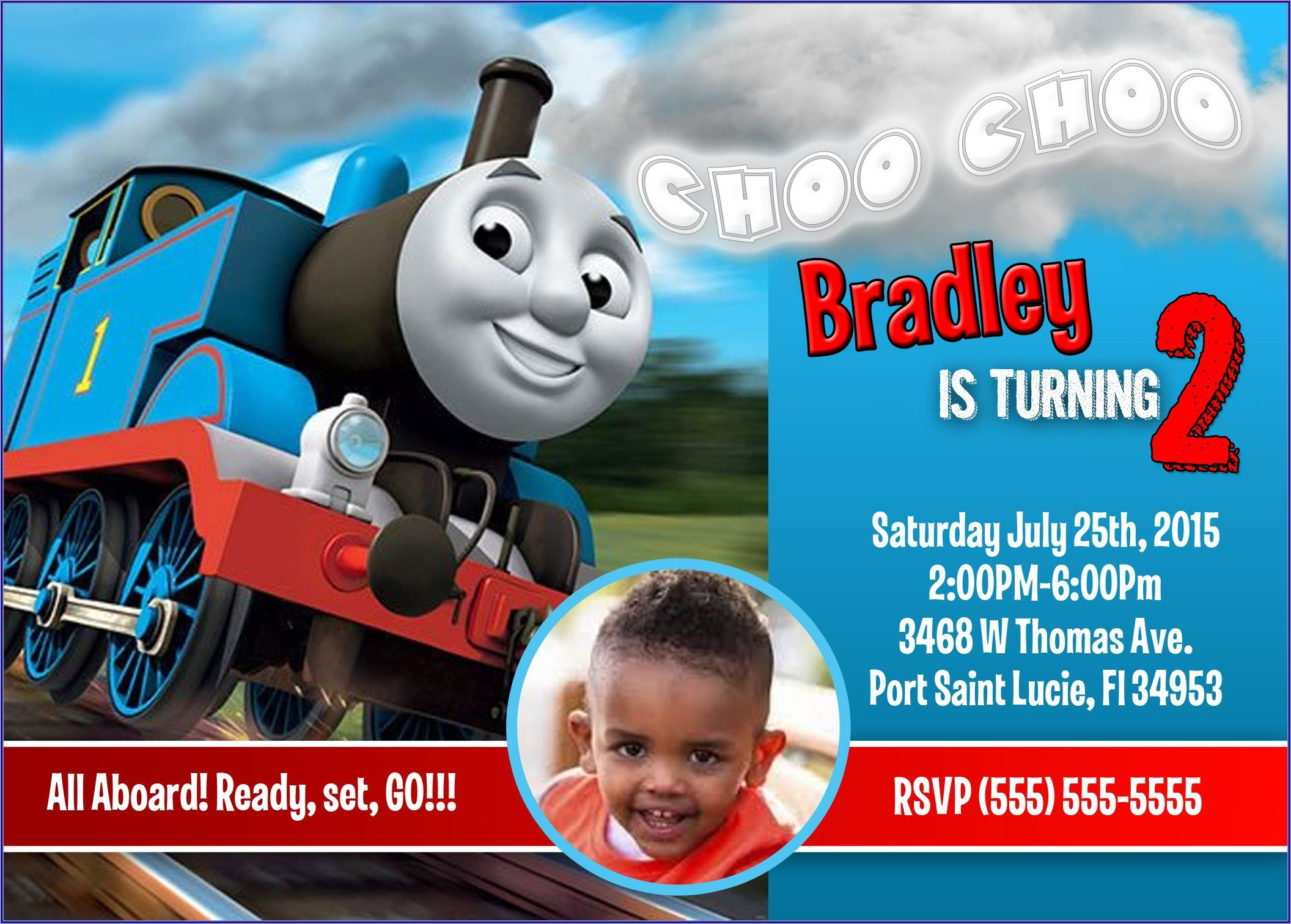 Free Editable Thomas The Train Invitations