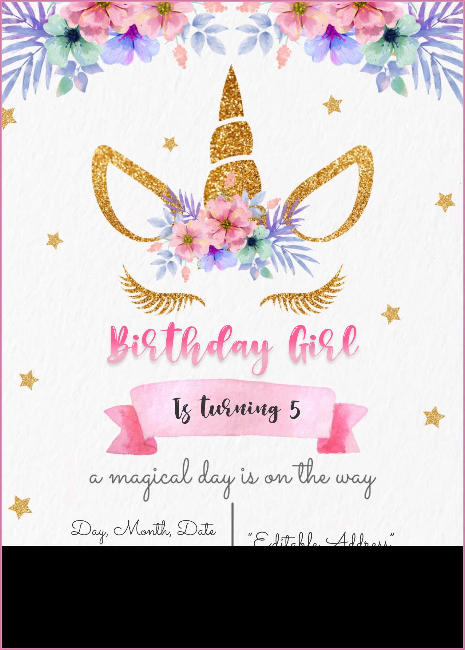 Free Editable Unicorn Baby Shower Invitation Templates