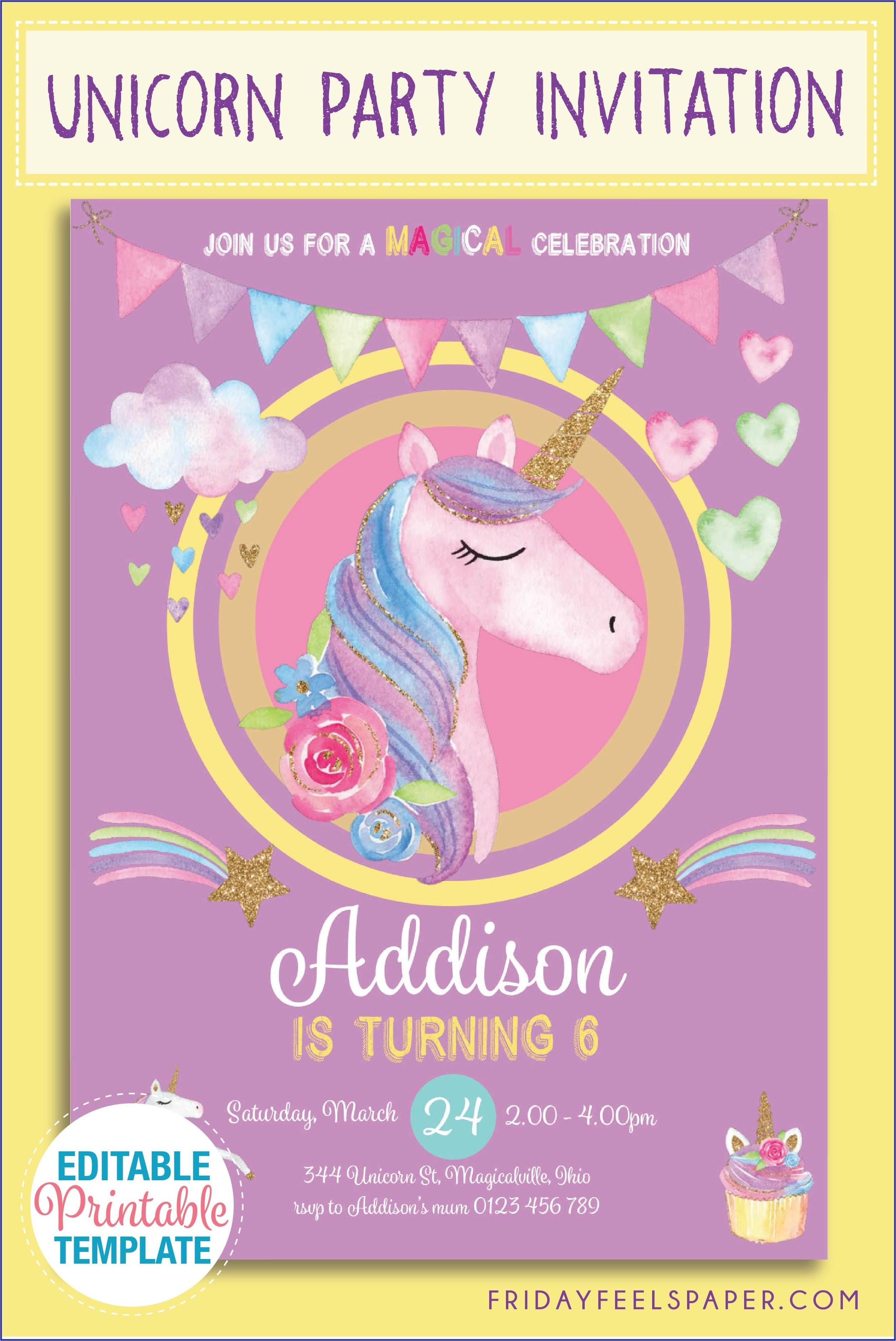 Free Editable Unicorn Party Invitations