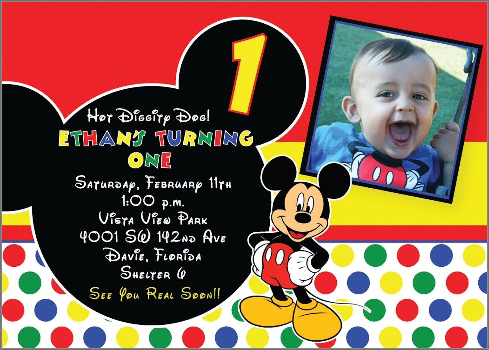 Free Mickey Mouse 1st Birthday Invitations Template