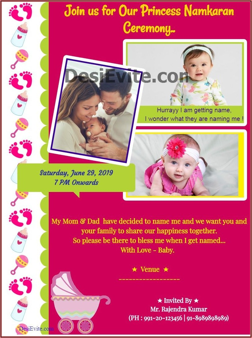 Free Online Invitation Card Design For Naming Ceremony