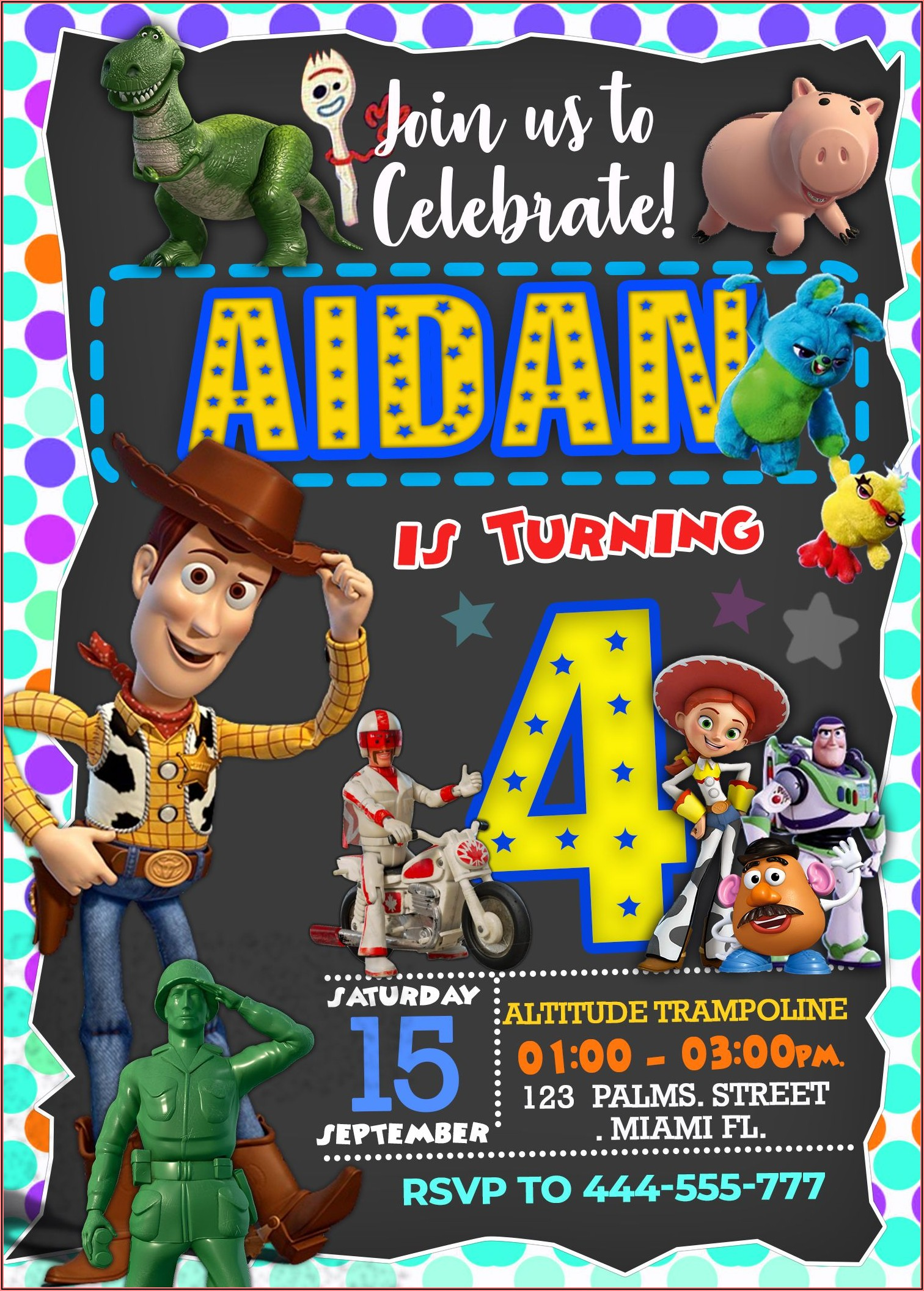 Free Personalized Toy Story 4 Birthday Invitations