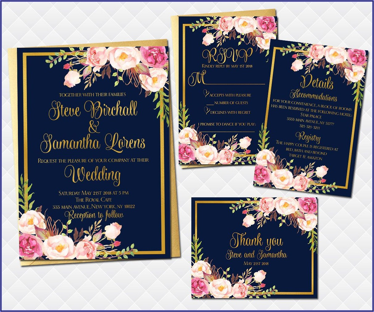 Free Pink And Gold Wedding Invitation Templates