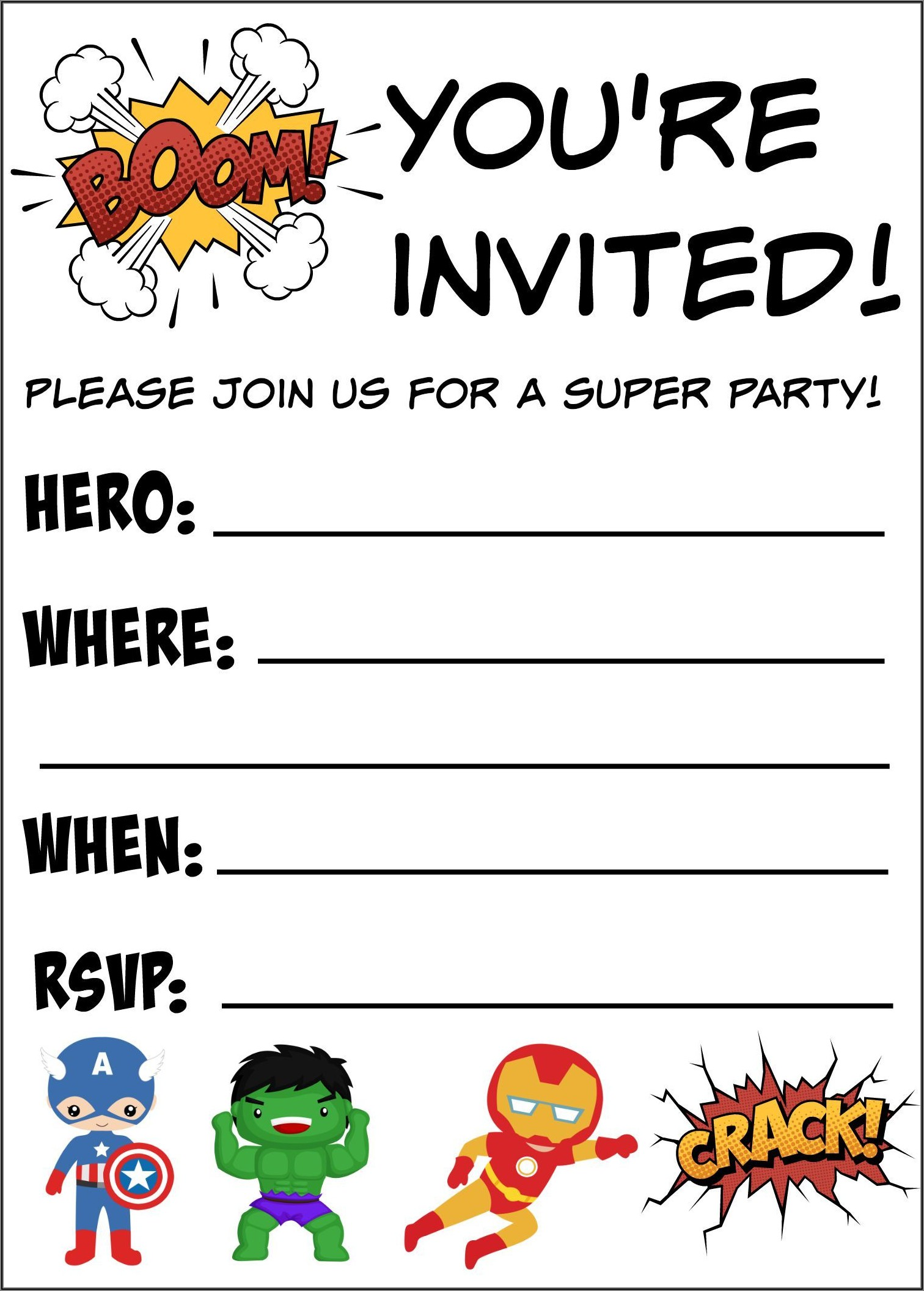 Free Printable Avengers Birthday Invitations