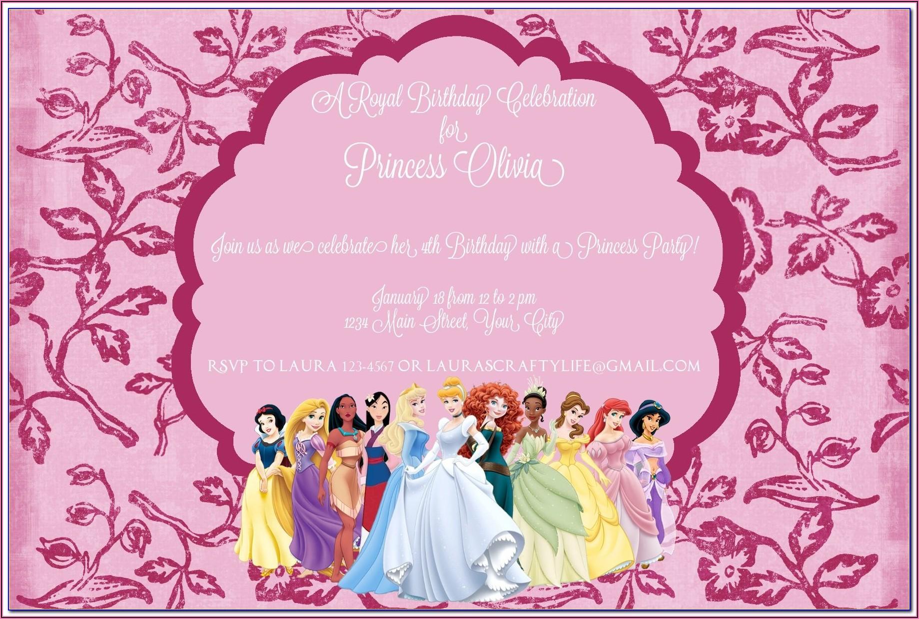 Free Printable Disney Princess Birthday Invitation Templates