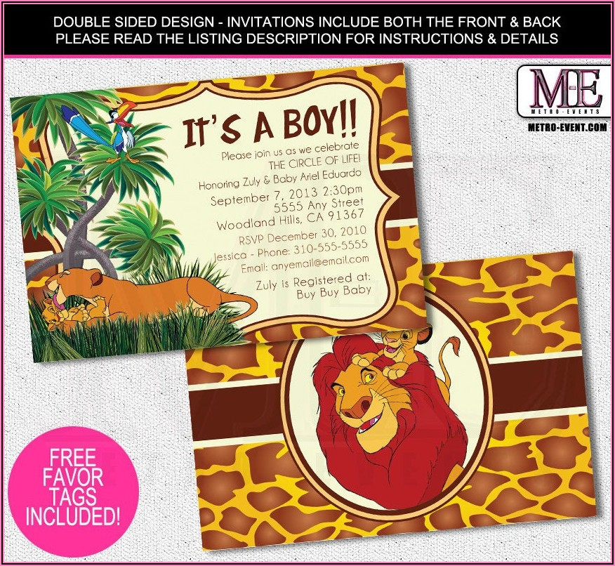 Free Printable Lion King Baby Shower Invitations