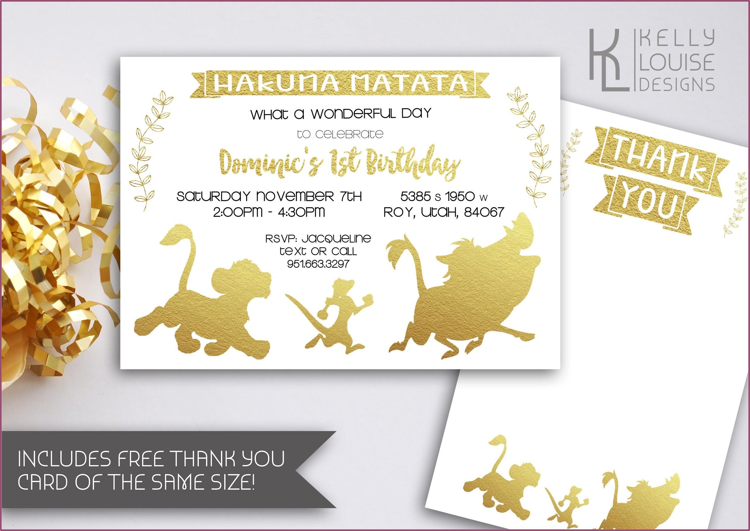 Free Printable Lion King Birthday Invitations