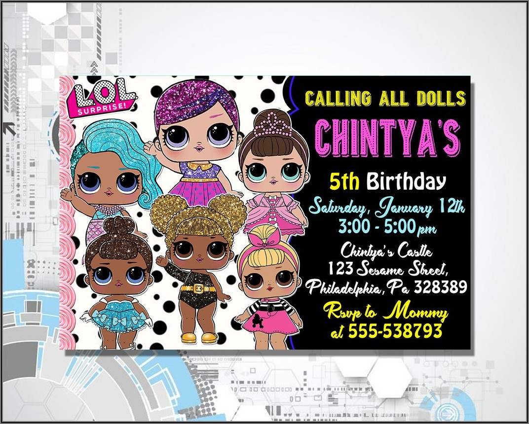Free Printable Lol Doll Birthday Invitations