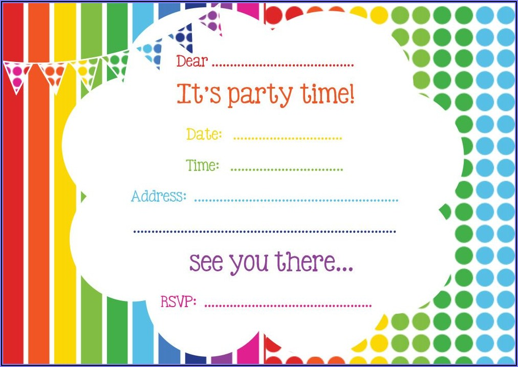 Free Printable Rainbow Birthday Party Invitations
