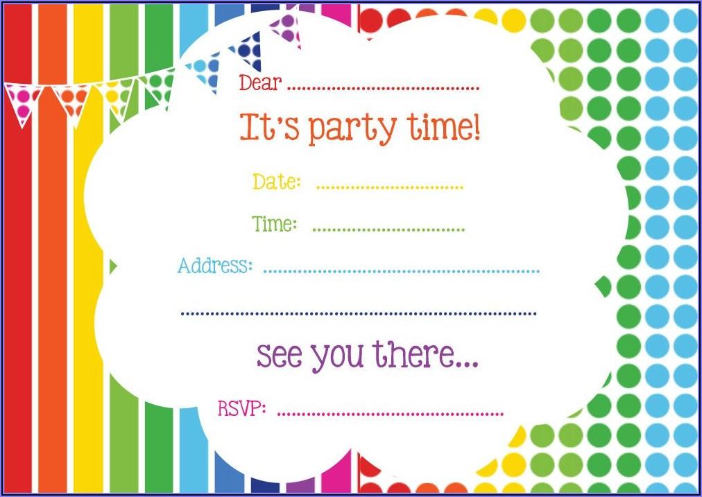 Free Printable Rainbow Birthday Party Invitations