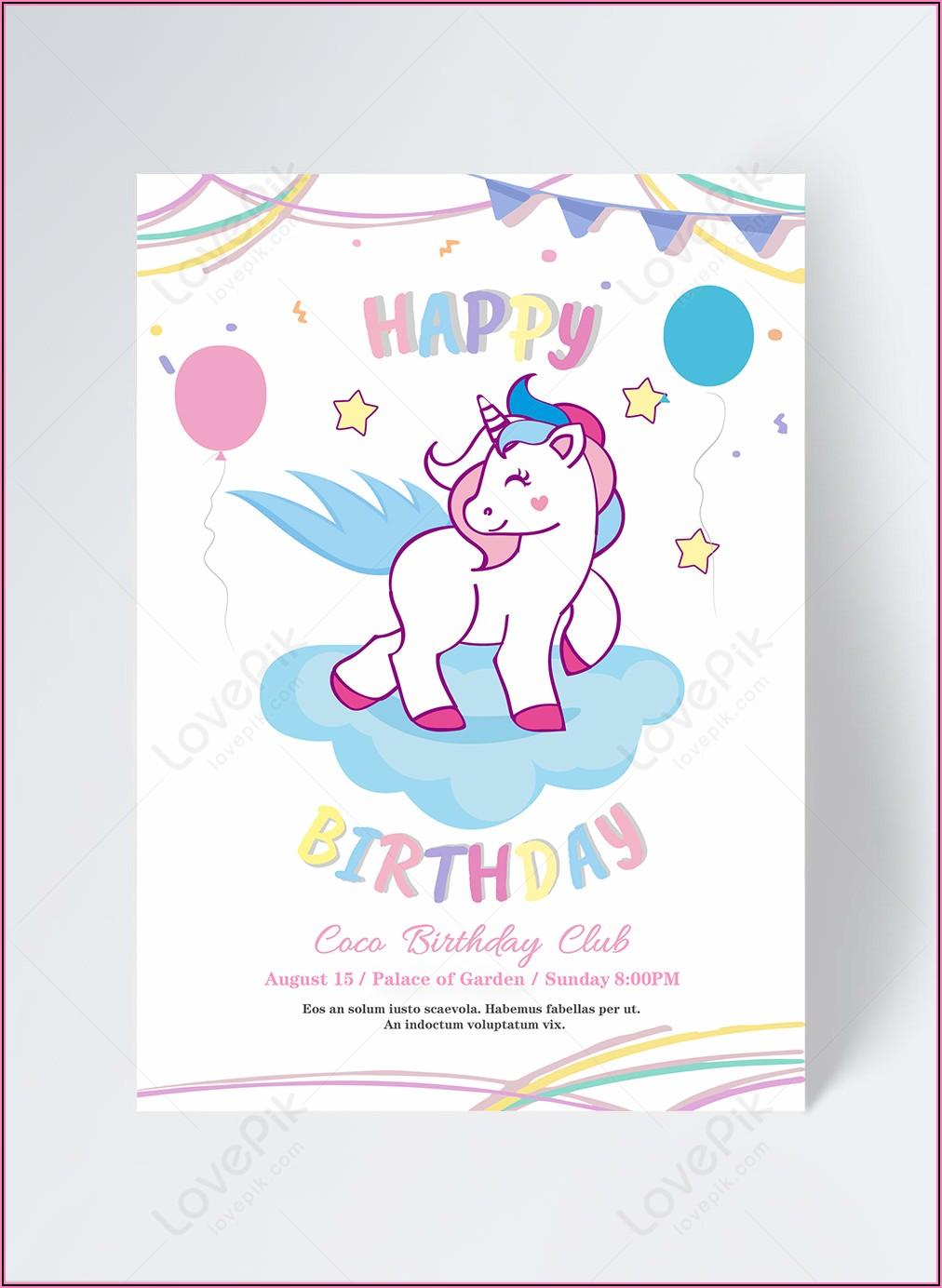 Free Unicorn Birthday Invitation Template