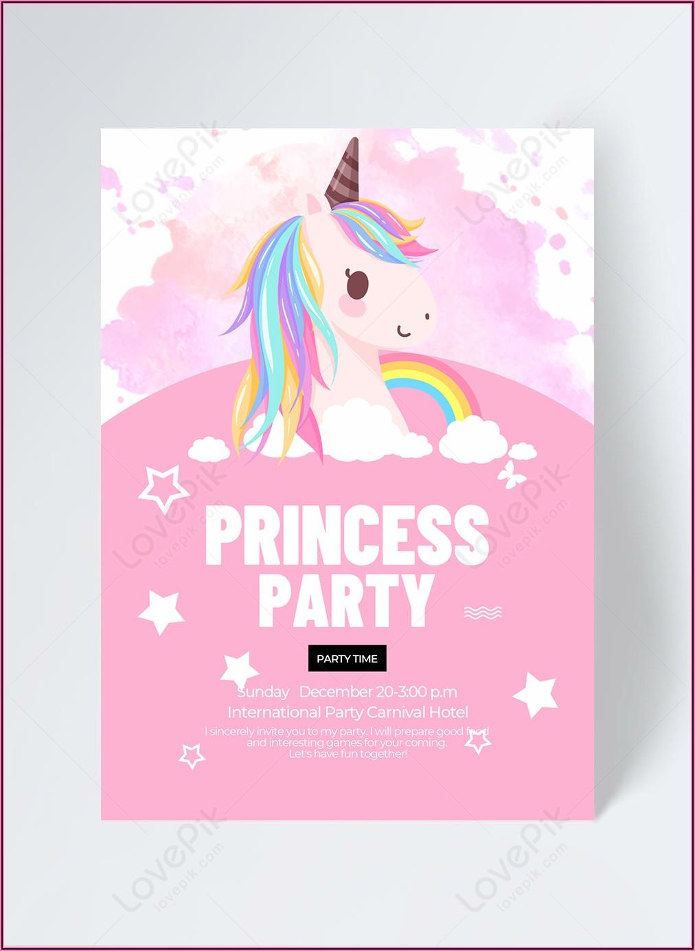 Free Unicorn Party Invitation Template