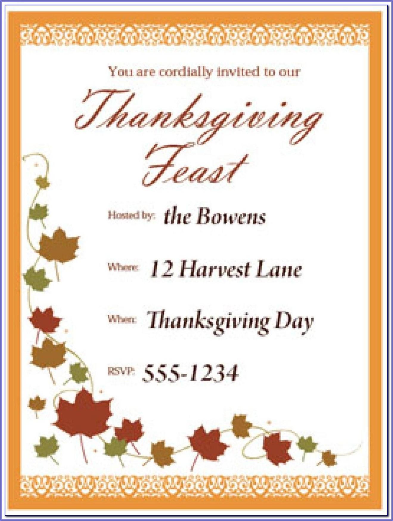 Funny Thanksgiving Potluck Invitation Wording
