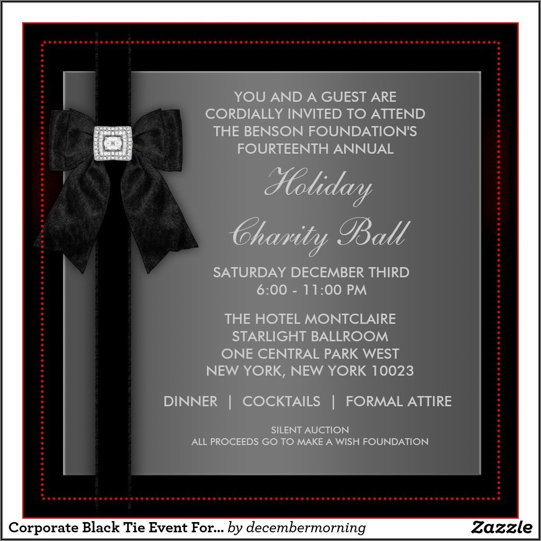 Gala Dinner Invitation Card Sample