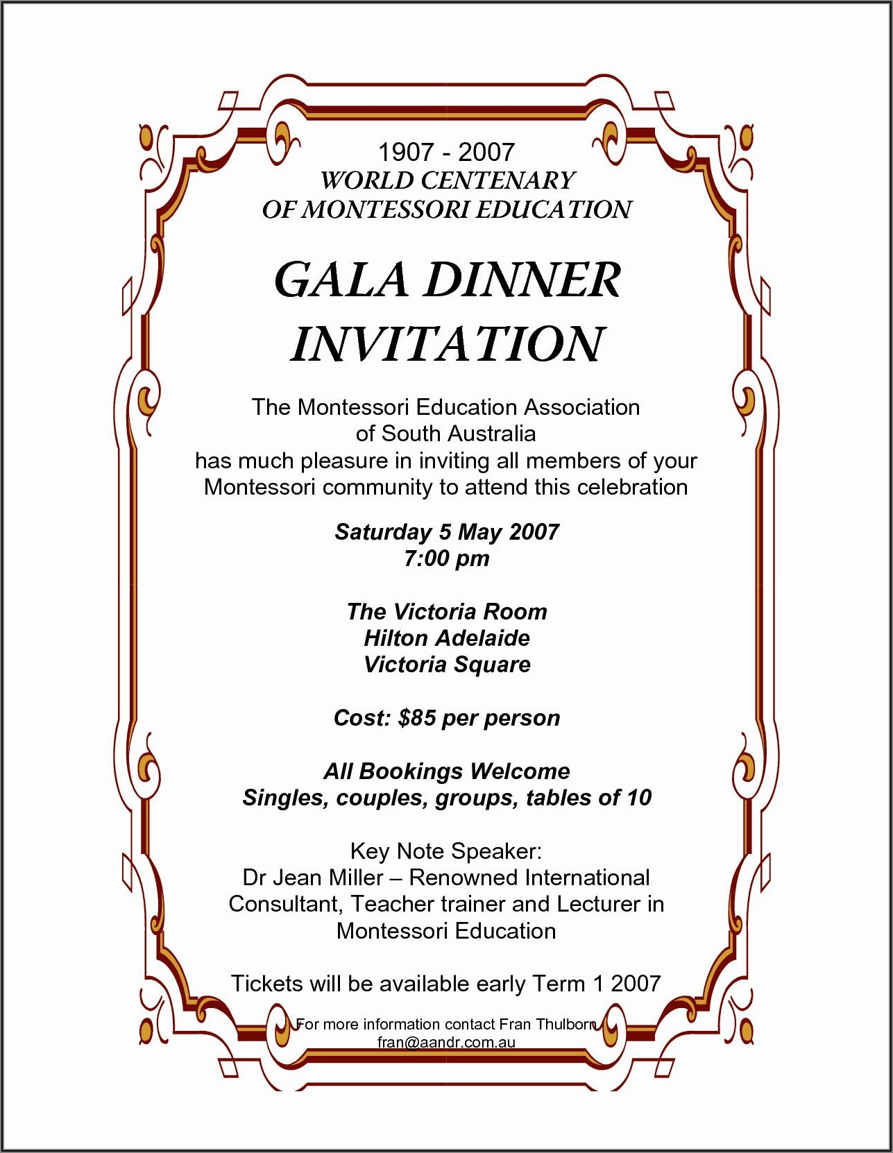 Gala Dinner Invitation Wording
