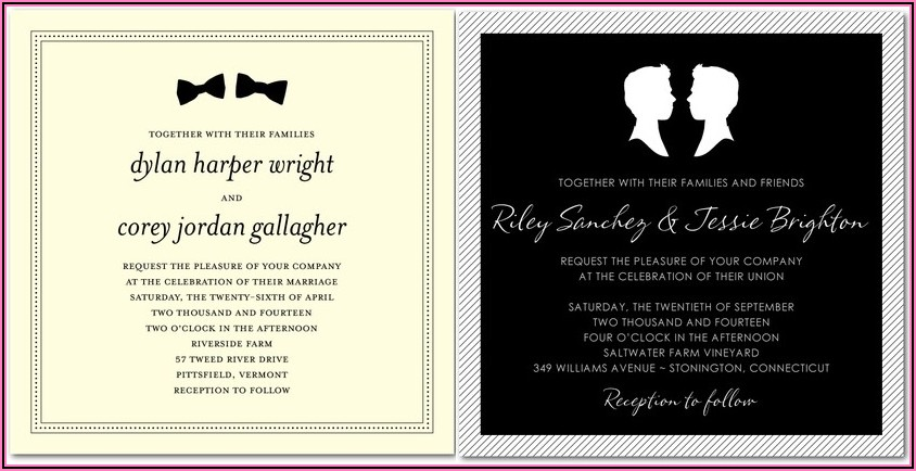 Gay Marriage Invitation Wording