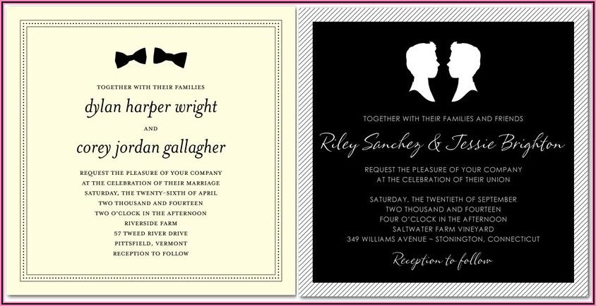Gay Marriage Invitation Wording