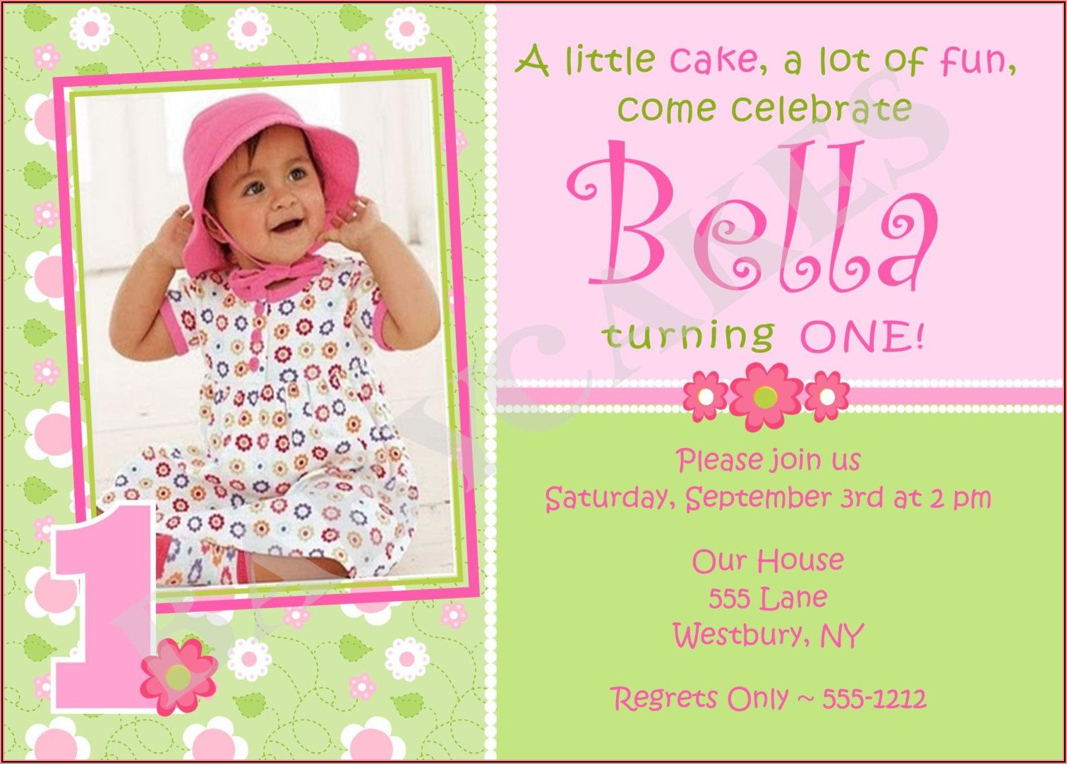 Girl Baby 1st Birthday Invitation