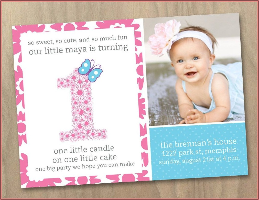 Girl Baby 1st Birthday Invitations