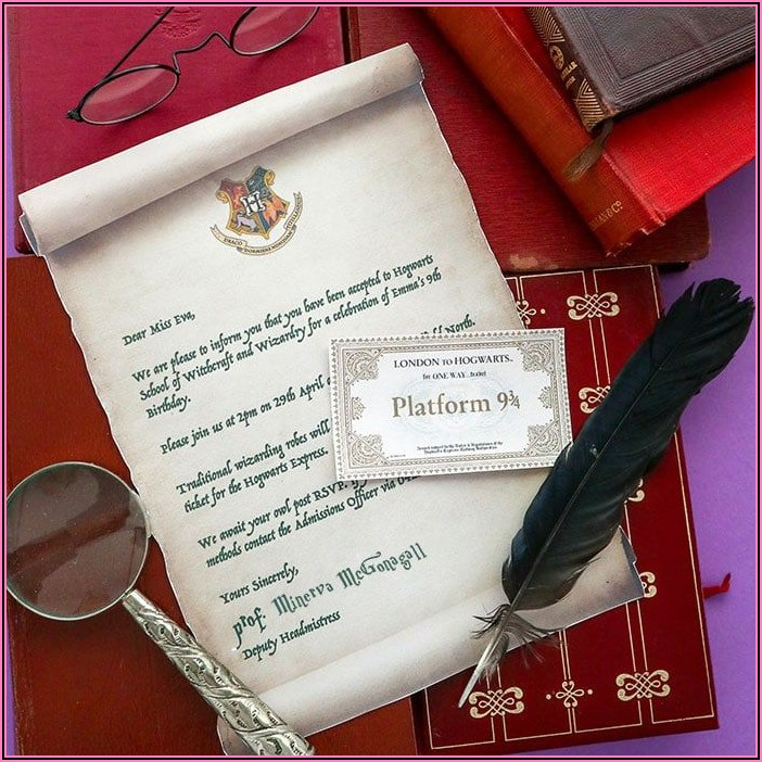 Harry Potter Acceptance Letter Party Invitation Template