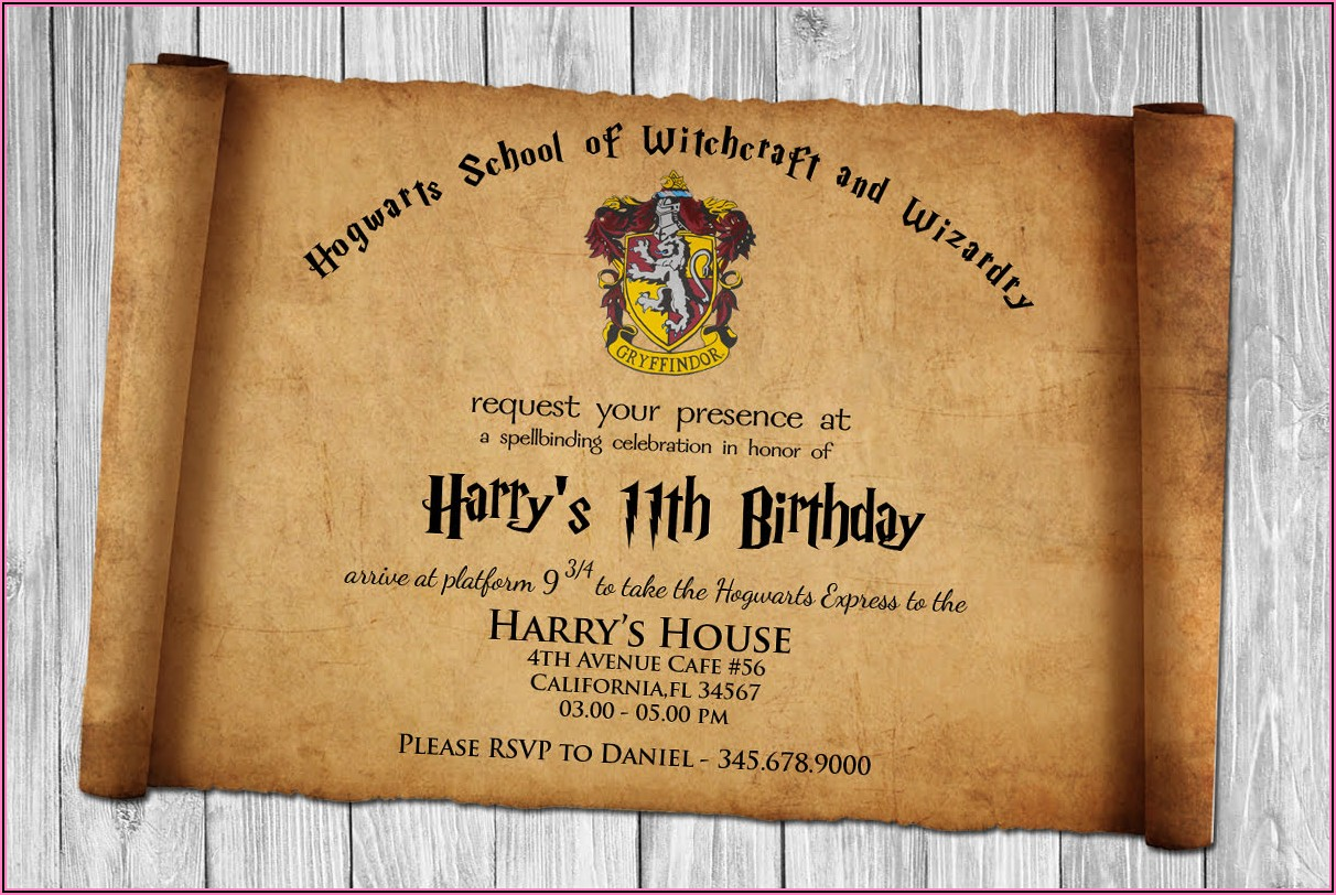 Harry Potter Birthday Invitation Template Download