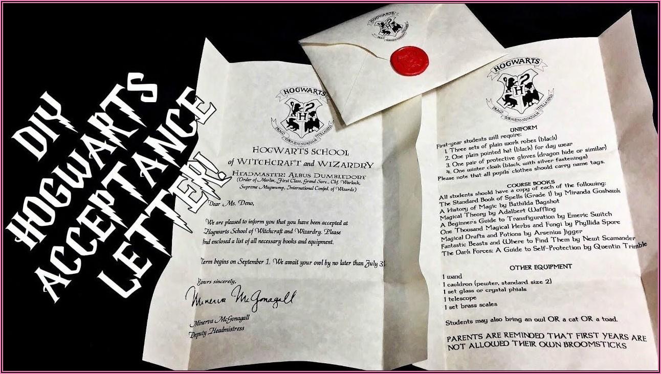 Harry Potter Invitation Letter To Hogwarts Template