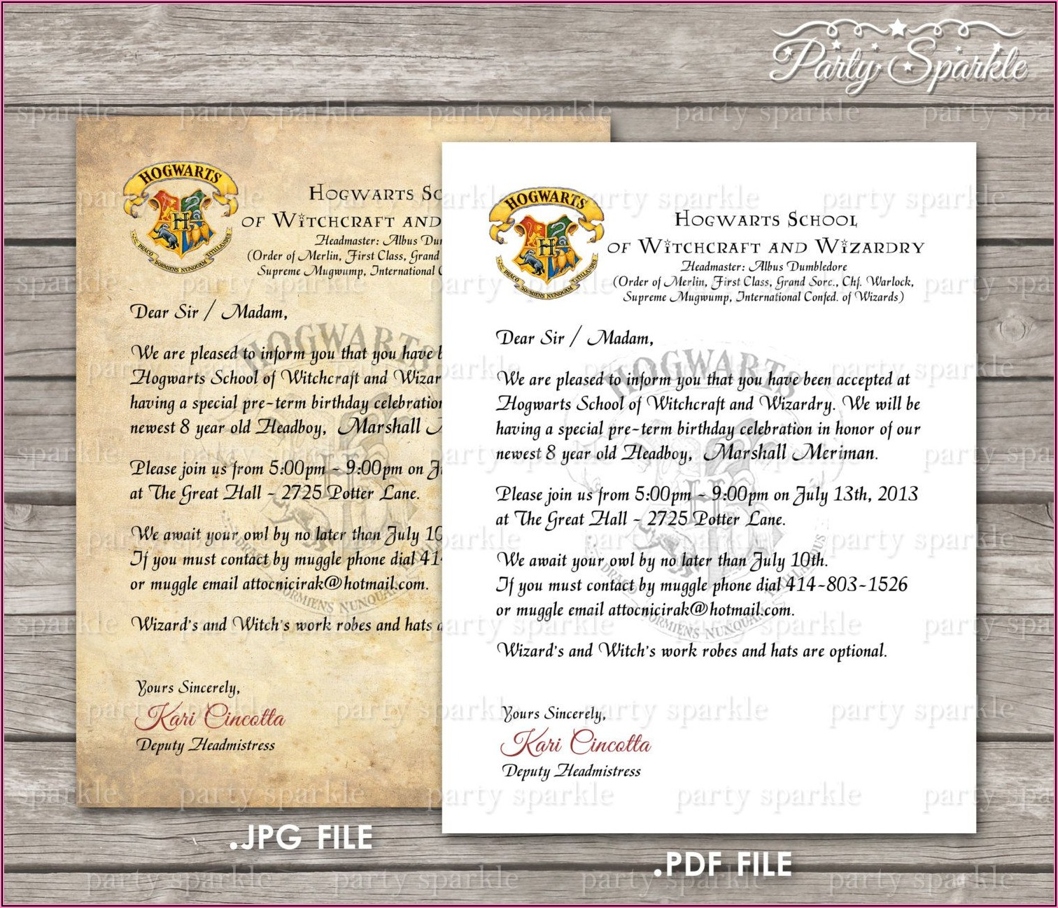 Harry Potter Invitation To Hogwarts Template Free