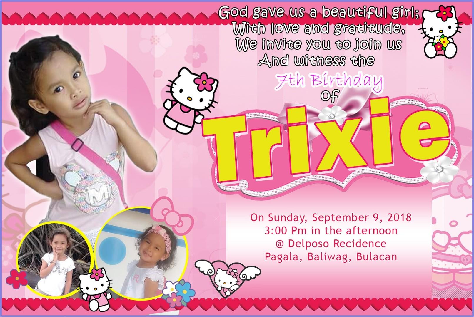 Hello Kitty 7th Birthday Invitation Background