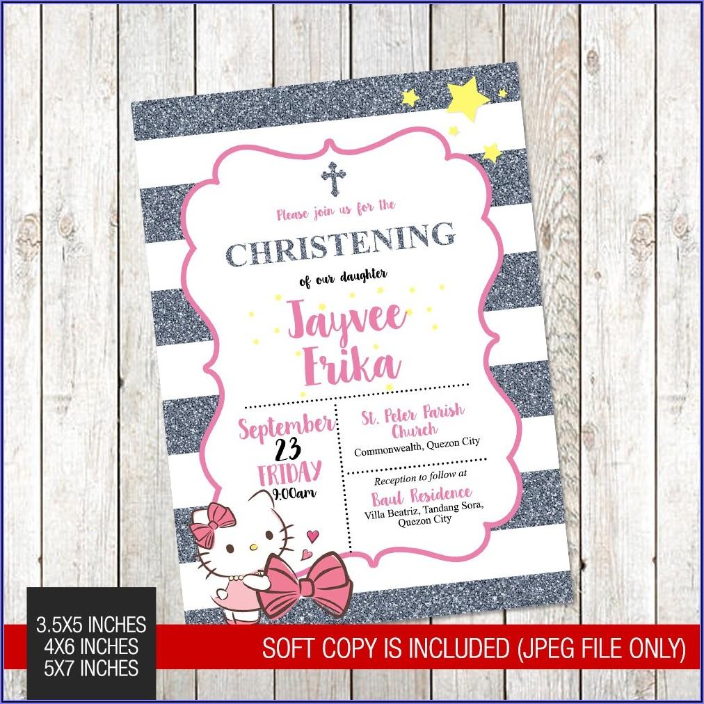 Hello Kitty Baptismal Invitation Layout