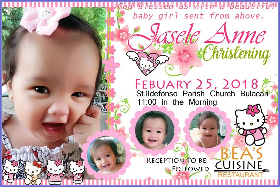 Hello Kitty Christening Invitation For Baby Girl Background