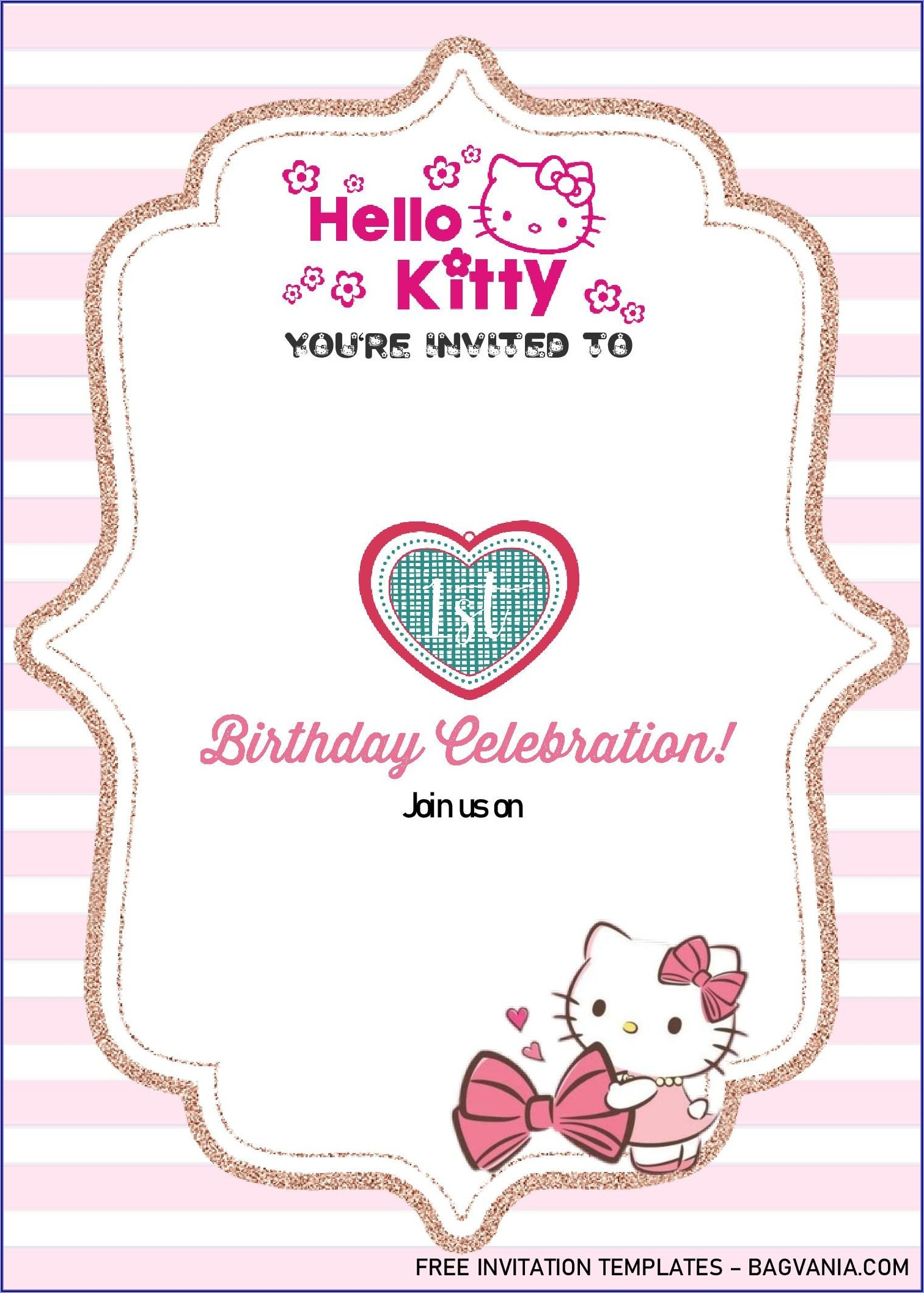 Hello Kitty Editable Invitation Templates